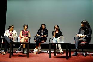 Left to right: Kelli Clifton, Ellena Neel,Jeneen Frei Njootli,Andrea Landry, Salia Joseph.Photo by Ching-Chiu Lin. 2014.
