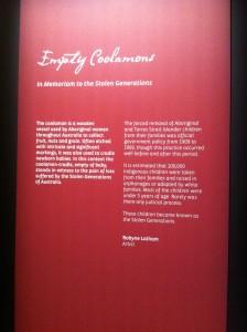 text panel empty coolamons - bunjilaka cultural centre melbourne photo jb 2014